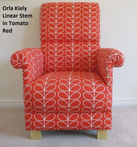 Orla Kiely Linear Stem Tomato Red Fabric Adult Chair Armchair Retro Vintage Style