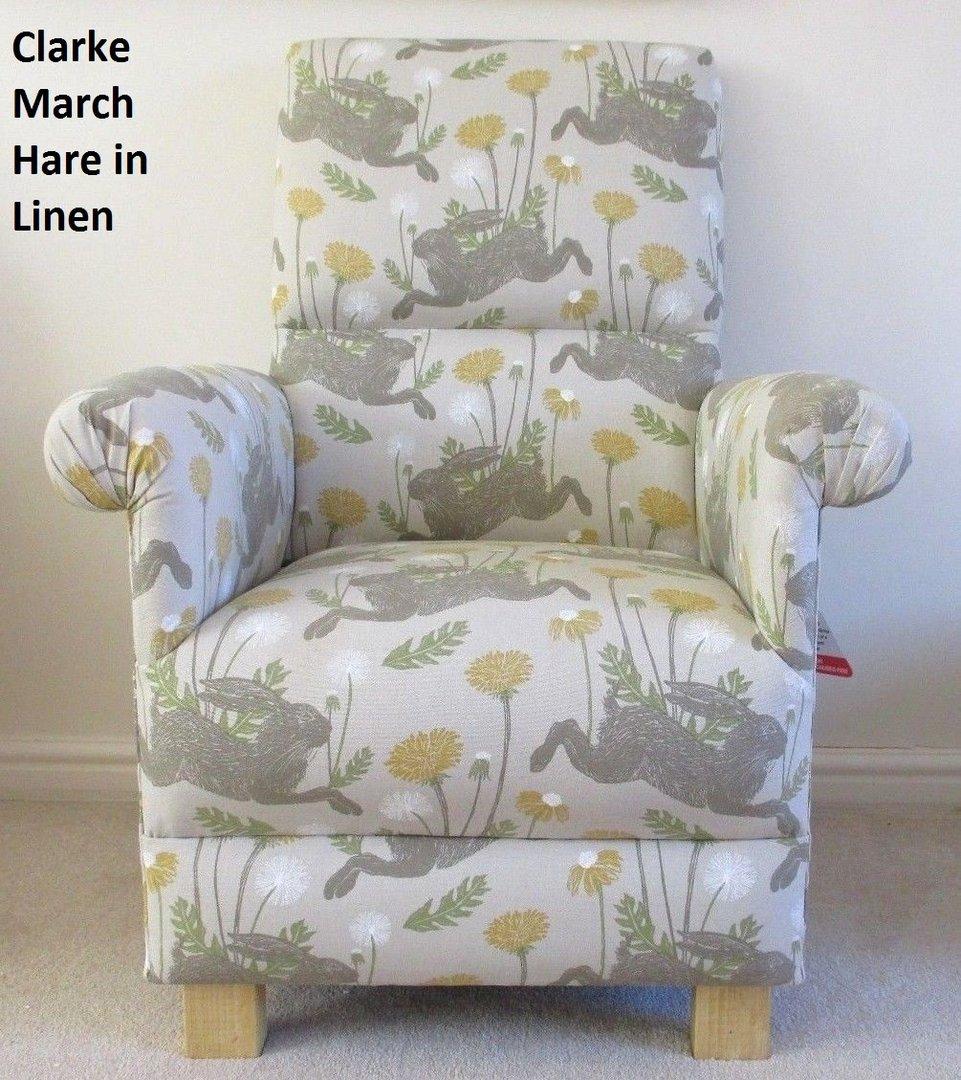 Clarke March Hare Fabric Adult Chair Linen Mustard Beige Armchair Animals  Nursery Bedroom Accent