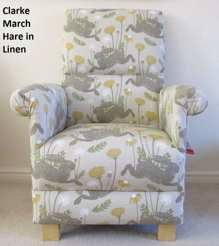 Clarke March Hare Fabric Adult Chair Linen Mustard Beige Armchair Animals Nursery Bedroom Accent