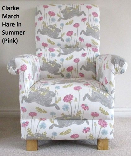 Clarke March Hare Fabric Adult Chair Summer Pink Armchair Rabbits Bunny Nursery