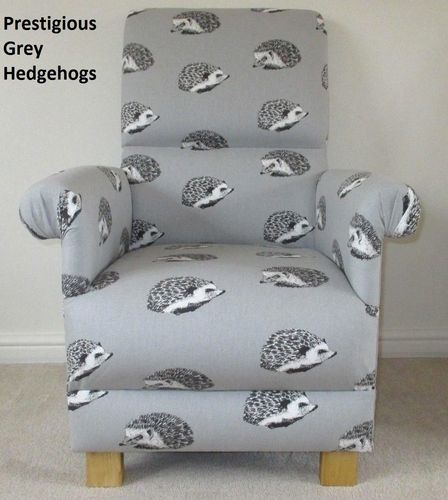 Prestigious Grey Hedgehogs Fabric Adult Chair Armchair Nursery Accent Bedroom Kitchen
