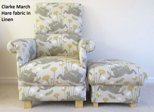 Clarke March Hares Fabric Adult Chair & Footstool Linen Mustard Armchair Nursery Bedroom Rabbits