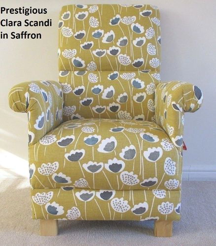 Prestigious Clara Scandi Fabric Adult Chair Floral Armchair Saffron Mustard Bedroom Flowers Retro
