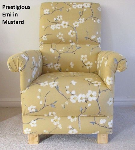 Prestigious Emi Mustard Fabric Adult Chair Bedroom Armchair Cream Floral Accent