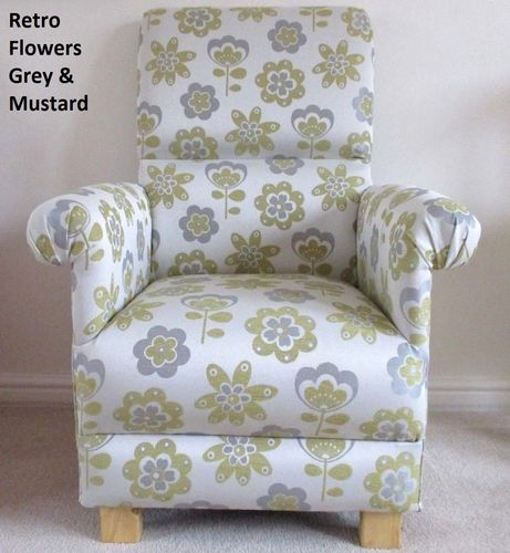 Retro Flowers Fabric Armchair Mustard & Grey Chair Bedroom Accent Nursery Kitchen