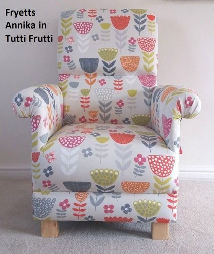 Fryetts Annika Fabric Adult Chair Tutti Frutti Armchair Floral Retro Flowers Nursery Accent Kitchen