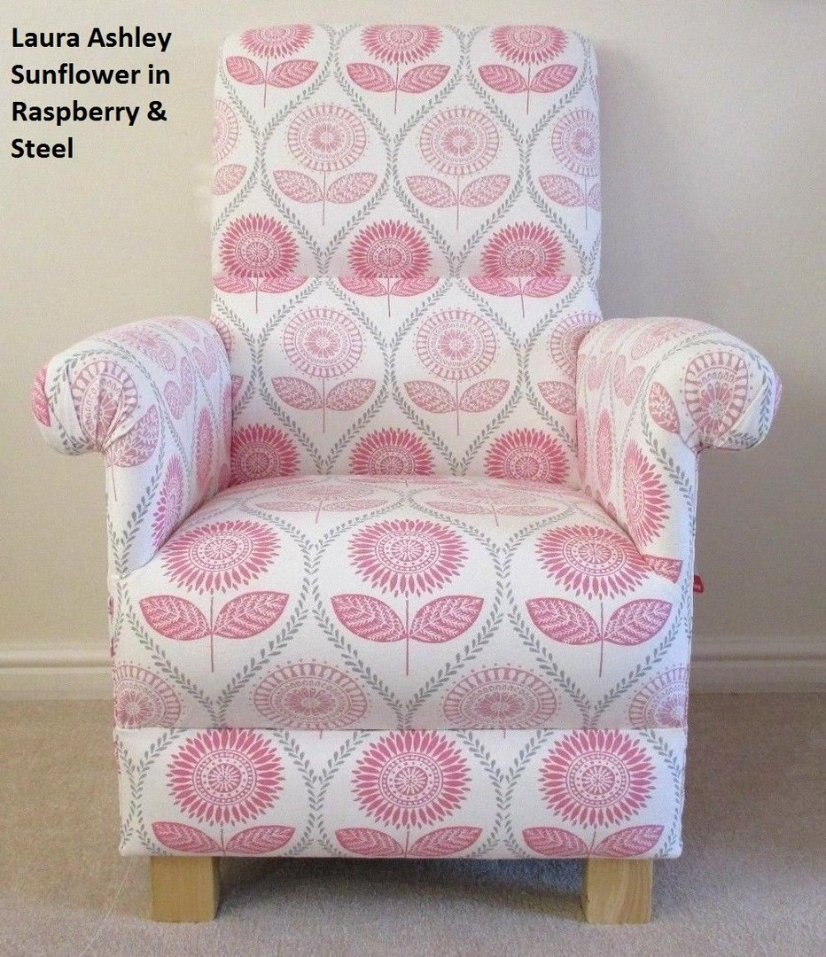 Laura Ashley Sunflowers Fabric Adult Chair Raspberry Pink Steel Armchair Floral Bedroom Chairs For Cherubs