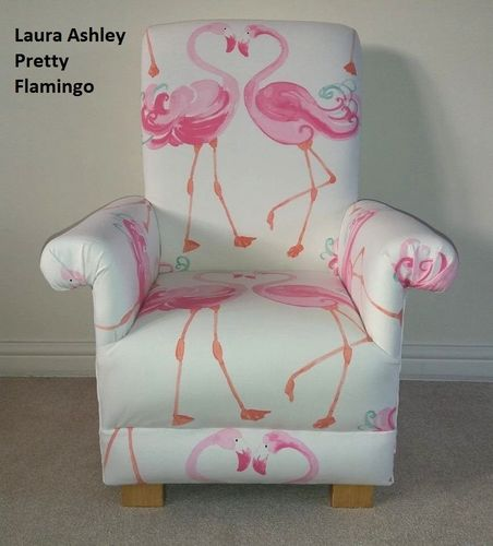 Laura Ashley Pretty Flamingo Fabric Child's Chair Girl's Armchair Pink Nursery Bedroom Flamingoes