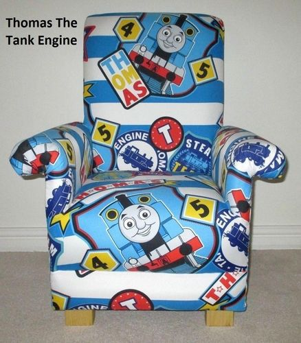 Thomas The Tank Engine Fabric Child's Chair Kid's Armchair Boys Blue Red Trains
