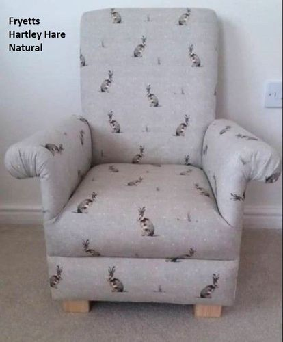 Fryetts Hartley Hare Natural Fabric Child's Chair Nursery Kids Armchair Beige Rabbits Bunnies
