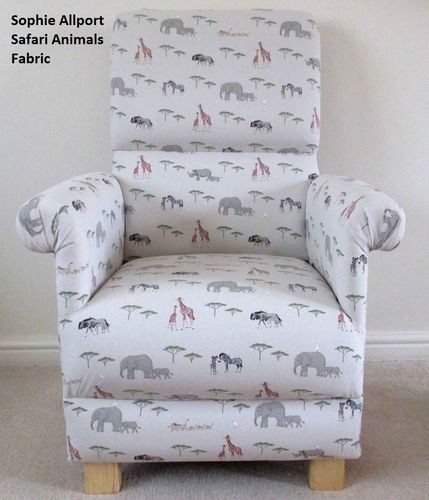 Sophie Allport Safari Animals Adult Chair Armchair Grey Nursery Zoo Accent Elephants Giraffes