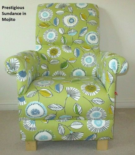 Prestigious Sundance Fabric Adult Chair Mojito Green Floral Armchair Retro Accent Flowers