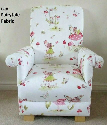 Fairytale iLiv Fabric Children's Chair Kids Armchair Girls Fairy Fairies Pink White Nursery Bedroom
