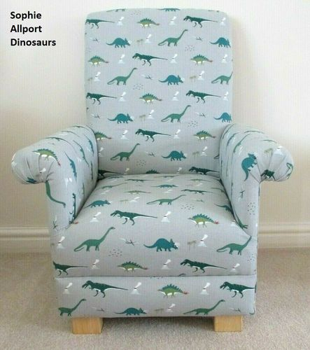 Sophie Allport Dinosaurs Fabric Child's Chair Sage Green Grey Armchair Kids Boys Nursery Bedroom