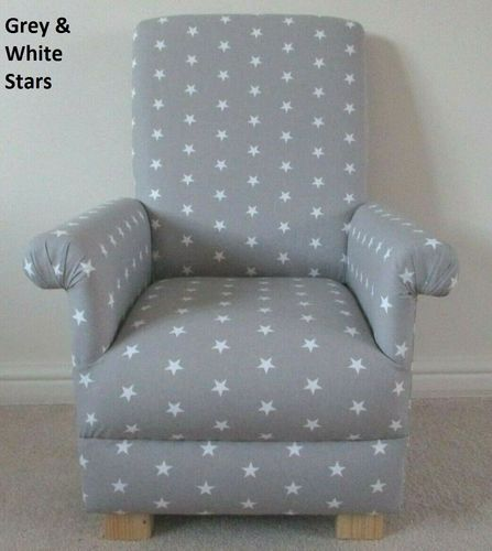 Grey & White Stars Fabric Child's Chair Children's Armchair Kids Bedroom Nursery Small