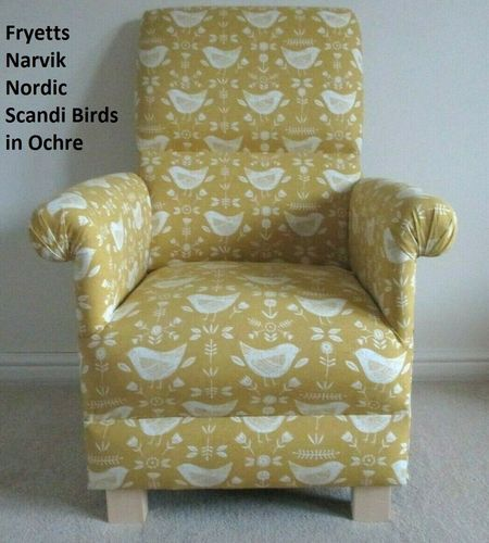 Fryetts Narvik Nordic Scandi Birds Fabric Adult Chair Armchair Mustard Ochre Accent Bedroom Nursery