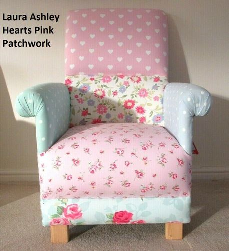 Laura Ashley Patchwork Hearts Fabric Adult Chair Nursery Armchair Bedroom Lounge Accent Small