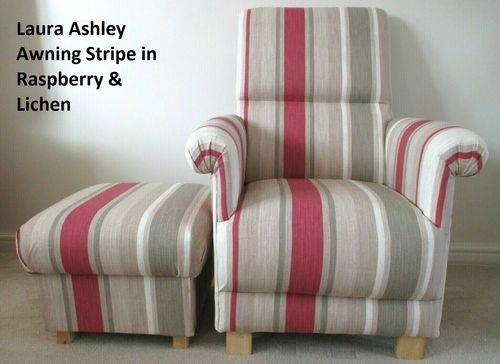 Laura Ashley Awning Stripe Fabric Adult Chair & Footstool Raspberry Lichen Red Cream Beige