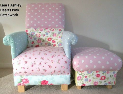Laura Ashley Patchwork Hearts Fabric Adult Chair & Footstool Armchair Pink Floral Nursery Bedroom