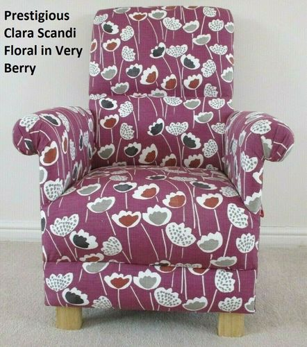 Prestigious Clara Scandi Very Berry Fabric Adult Chair Armchair Purple Floral Accent Petite