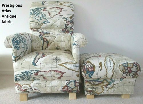 Prestigious Atlas Antique Fabric Adult Chair & Footstool Armchair Cream World Map Globe