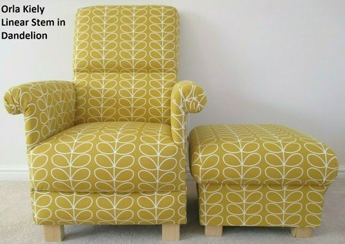 Orla Kiely Linear Stem Dandelion Fabric Adult Chair & Footstool Armchair Nursery Mustard Ochre
