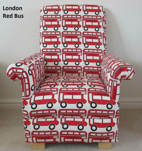 London Red Bus Fabric Children's Chair Kids Armchair Buses Transport Nursery Bedroom Small