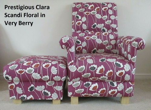 Prestigious Clara Scandi Very Berry Fabric Adult Chair & Footstool Floral Purple Mauve Accent Pouffe