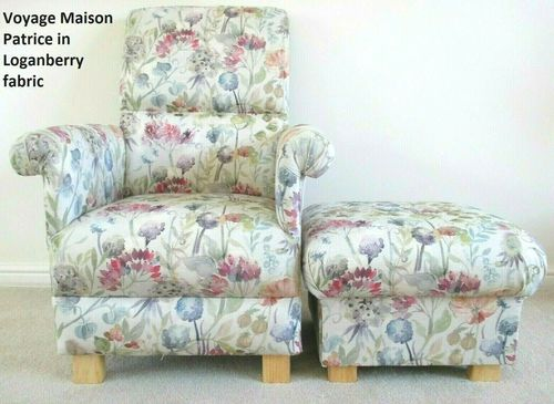 Voyage Maison Patrice Fabric Adult Chair & Footstool Loganberry Floral Armchair Pouffe Footstool