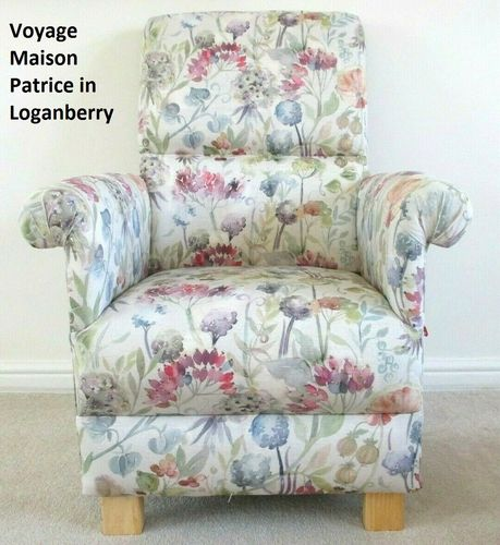 Voyage Maison Patrice Fabric Adult Chair Loganberry Linen Floral Armchair Accent Flowers Lilac Pink