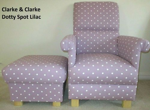 Clarke Lilac Dotty Spot Fabric Adult Chair & Footstool Armchair Pouffe Mauve Purple Polka Dots