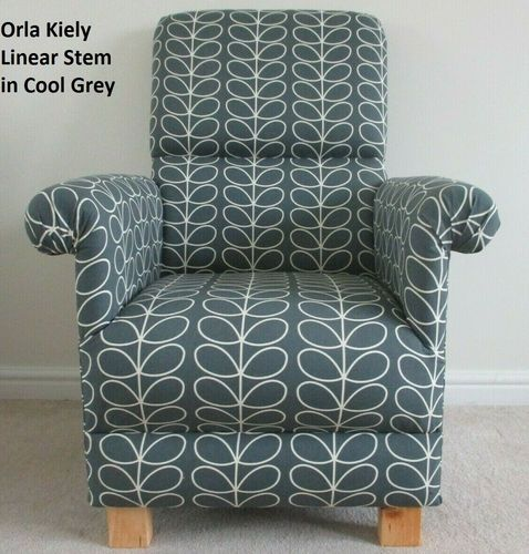 Orla Kiely Linear Stem Cool Grey Fabric Adult Chair Armchair Nursing Nursery Accent Lounge Kitchen