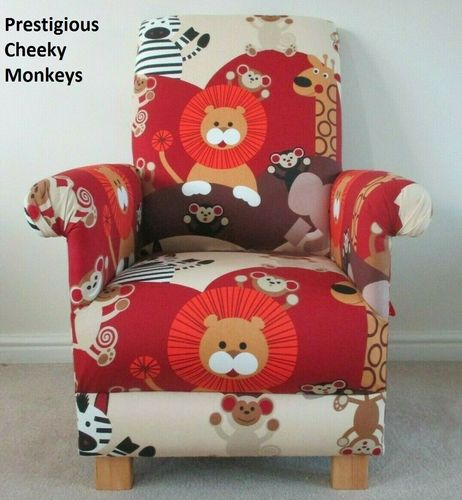 Nursery Armchair Accent Chair in Prestigious Cheeky Monkeys Fabric Animals Adult Size Lions Giraffes