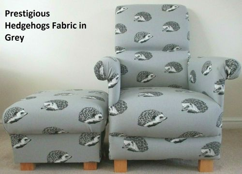 Grey Accent Chair Armchair & Footstool Pouffe in Prestigious Hedgehogs Fabric Nursery Bedroom Adult
