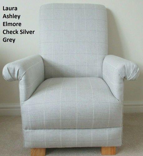 Child's Chair Laura Ashley Elmore Check Silver Grey Fabric Kids Children's Toddlers
