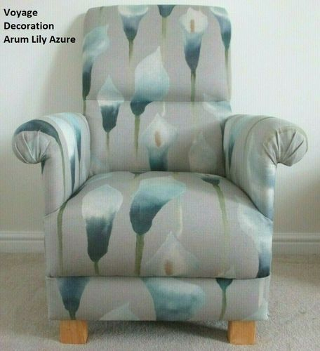 Grey Teal Accent Armchair Voyage Decoration Arum Lily Azure Fabric Adult Chair Bedroom Lounge Green