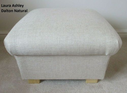 Storage Footstool in Laura Ashley Dalton Pale Natural Fabric Footstall Pouffe British Made