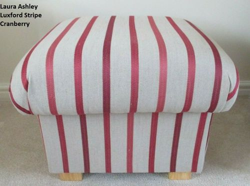 Storage Footstool in Laura Ashley Luxford Stripe Cranberry Fabric Footstall Pouffe Red Beige British