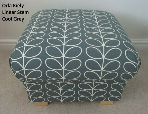 Storage Footstool in Orla Kiely Linear Stem Cool Grey Fabric Pouffe Footstall Designer British