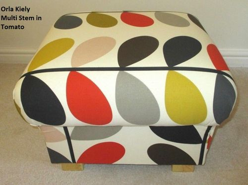 Storage Footstool in Orla Kiely Multi Stem Tomato Mustard Fabric Pouffe Footstall British Made