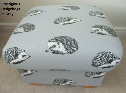 Storage Footstool in Prestigious Grey Hedgehogs Fabric Pouffe Footstall British Made Animals