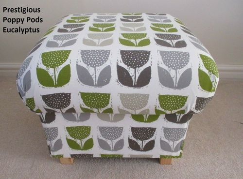 Storage Footstool in Prestigious Poppy Pods Eucalyptus Green Fabric Pouffe Footstall Floral Grey