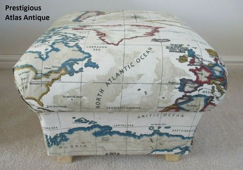 Storage Footstool in Prestigious Atlas Antique Cream Fabric Pouffe Footstall World Map Countries