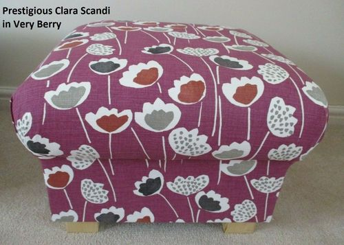 Storage Footstool in Prestigious Clara Scandi Floral Fabric Very Berry Purple Magenta Pouffe