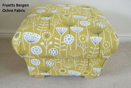 Storage Footstool Fryetts Bergen Ochre Fabric Pouffe Footstall Floral Mustard Yellow British Made