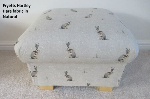 Storage Footstool in Fryetts Hartley Hare Natural Fabric Pouffe Footstall Nursery Storage Beige