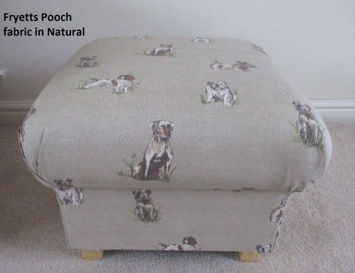 Storage Footstool Fryetts Pooch Natural Fabric Pouffe Footstall Dogs Puppy Terrier Bulldogs Beige