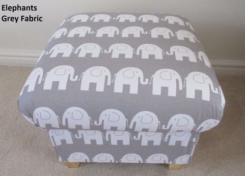 Storage Footstool Grey Elephants Fabric Pouffe Footstall Nursery Animals British Made
