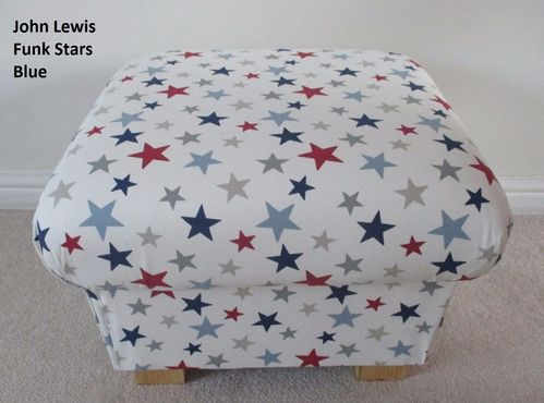 Storage Footstool John Lewis Funky Stars Fabric Pouffe Red White Blue Footstall Nursery