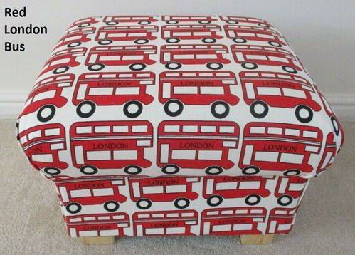 Storage Footstool London Red Bus Fabric Pouffe Footstall Nursery Bedroom Transport